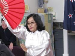 Lei Lei demonstrating Tai Chi Fan Form