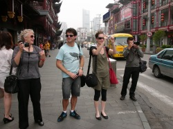 SENSORY OVERLOAD:  There's no hiding the excitement as the media team get their first sight of Shanghai streets. L to R; Sally Rae  Agriculture Editor, Otago Daily Times;  Liam Dann, Business Editor, NZ Herald; Heather McCarron, Reporter Radio Live; and David White, photographer for the Herald and the NZ Listener.