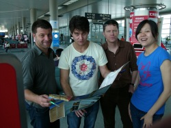 EN ROUTE TO BEIJING: David White and Liam Dann with Listener Freelancer Conrad Heine and Youxie newcomer Ding Li  (a.k.a. Lesley)