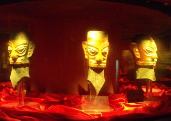 Shang dynasty Bronze masks gilted, Sanxingdui, near Chengdu, Sichuan province