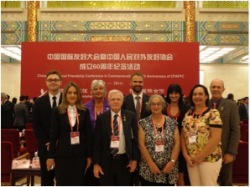 Australia and New Zealand representatives: Back, left to right: Charles Rowe (NZCFS), Dorothy Waymouth and son Matt Parkes, Melissa Tauroa (NZ China Maori Friendship), and Ross Gwyther (Australia China Friendship Society). Front, left to right: Jessica Rowe (NZCFS), Neville Green (Australia China Friendship Society), with Patricia and Gaelene Tauroa (NZ China Maori Friendship).