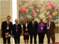 Charles Rowe (NZCFS), Nie Guangtao (Shandan Bailie School alumni), Jessica Rowe of NZCFS (working for CCTV, student of SOAS), Matt Parkes and mother Dorothy Waymouth (relatives of Rewi Alley), and Michael Crook (Chairman of ICCIC-Gung Ho), in the Great Hall of the People