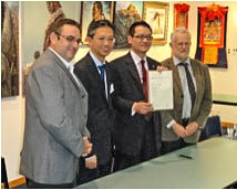 Patrick English (Executive Director, New Zealand China Council); His Excellency WANG Lutong , Ambassador of the PRC; Raymond Huo (Labour MP), holding Trust document; and Dave Bromwich, National NZCFS President of the