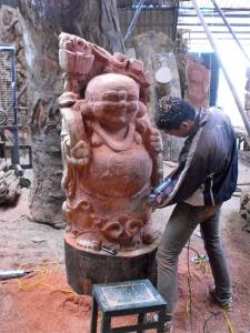 A Buddha carving nearing completion