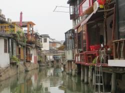 A narrow canal in Zhu Jiajiao water town, Qingpu, Shanghai