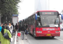 Queue of buses, Baolong, Fuzhou, Fujian province