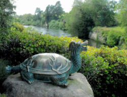 Celestial Yuan of Taihu, a giant turtle sent by the Dragon King to save the people of Wuxi. It is symbolically protecting the Chinese Scholar's Garden from floods and providing the cerebral /spiritual linkage to the river Waikato [donated by the people of Wuxi and the Municipal People's Association for Friendship]