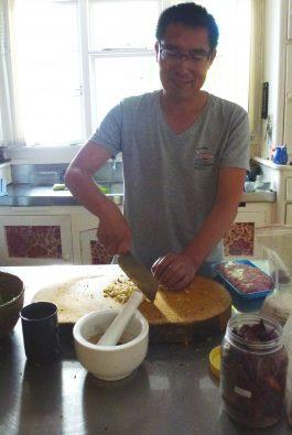 Bao Zhiming showing us how to make dumplings