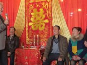 Best wishes from New Zealand friends. Dave Bromwich speaking at Wang Fang and Ye Xi's wedding