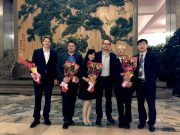 After the Gala Performance in the Great Hall. From left: Gabriel Keresztesi (grandson of James Gareth Endicott), Mark Bethune (grandson of Dr. Norman Bethune), Doris Zhang (Chinese People's Association for Friendship with Foreign Countries), Philip Hall, Nie Guangtao (Rewi Alley's adopted son) and Nie Guangtao's son.