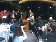 Christine Ward receiving the award at the Sister City Awards Dinner