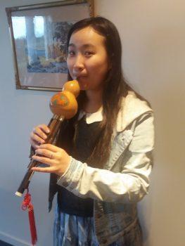 Caroline playing hulusi