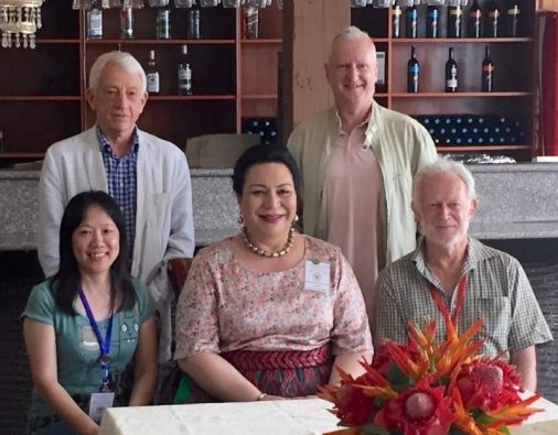 Her Royal Highness, Princess Salote Mafile'o Pilolevu Tuita of Tonga, with  NZCFS delegates: (clockwise) George Andrews, Heiko Lade, Dave Bromwich (National President) and Miao Fan